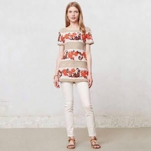 Anthropologie Banded Bouquets Tunic Top